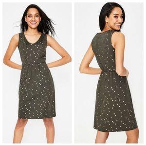 Boden Melinda Jersey dress green gold polka dots